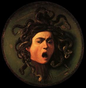 Medusa, by Caravaggio, 1597.